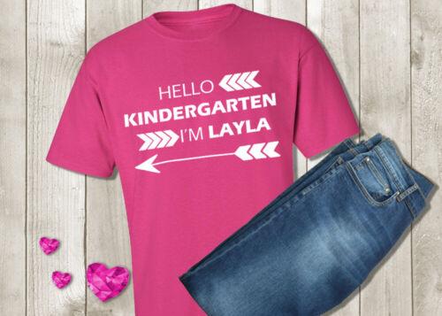 Hello Kindergarten Shirt Personalized Custom First Day of School Girl Tshirt