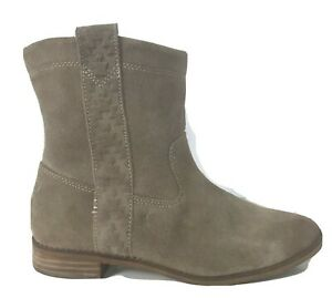 Toms Ankle Boots Womens Size 8M Laurel Tan Burnished Suede Slouch Bootie Pull On