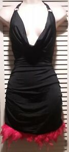 New Sexy Black Dress With Red Feather Trim Flapper Burlesque plunging neckline