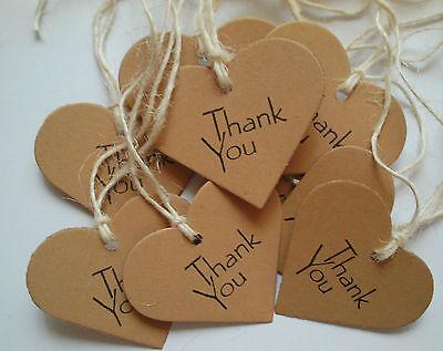 25 Vintage Style Heart Kraft Card 'Thank You' Handmade Gift Tags