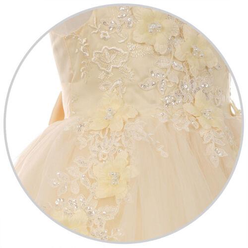 Flower Girls Princess Dresses Bridesmaid Pageant Recital Wedding Gown Birthday