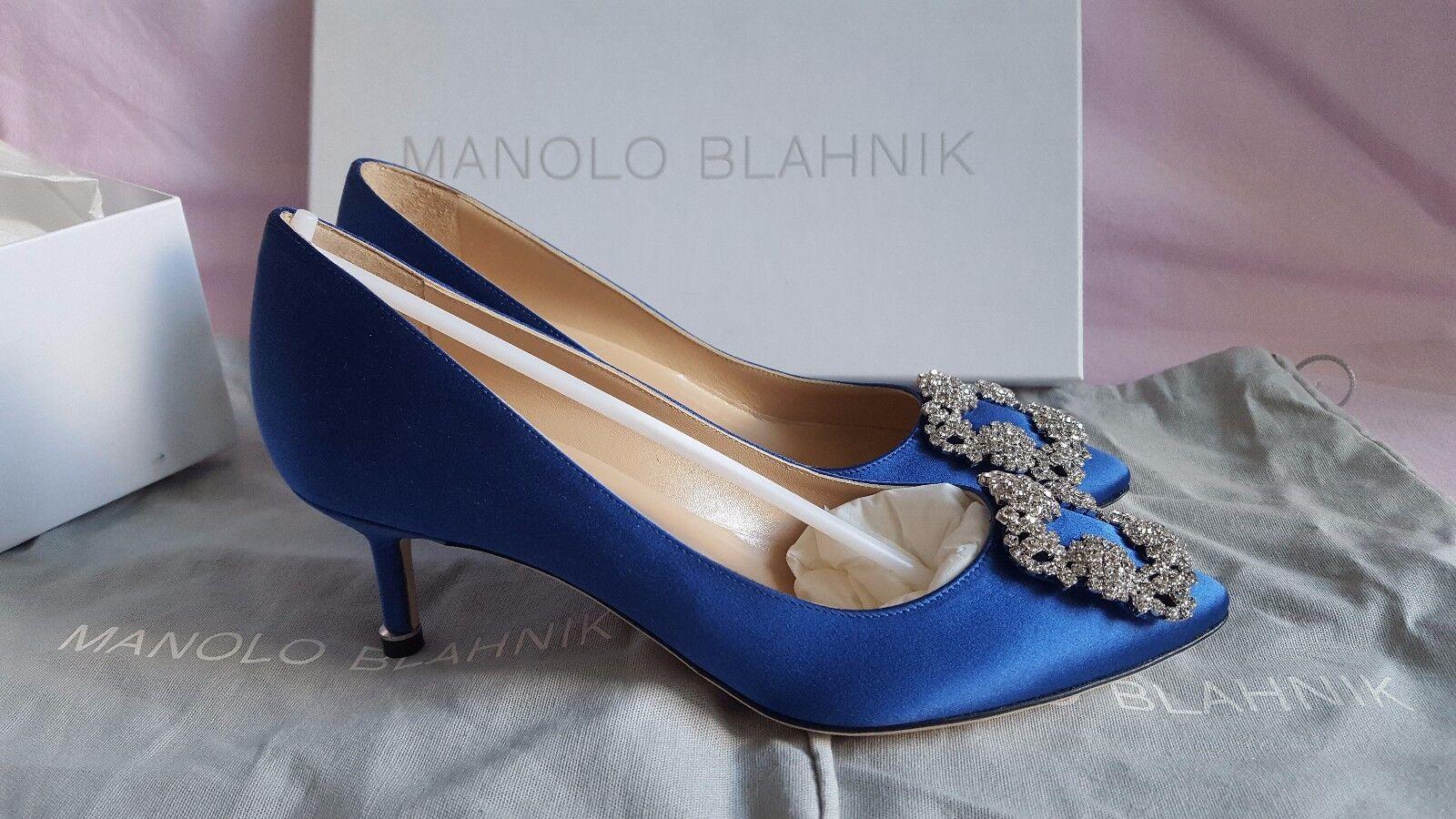 Nuovo autentico Manolo  Blahnik Hangisi 50 Royal blu Satin scarpe Heels Pump CLC  marchio in liquidazione