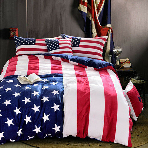 New Hot Cotton American National Flag Pattern 100% Cotton Bedding Set 4PC 784