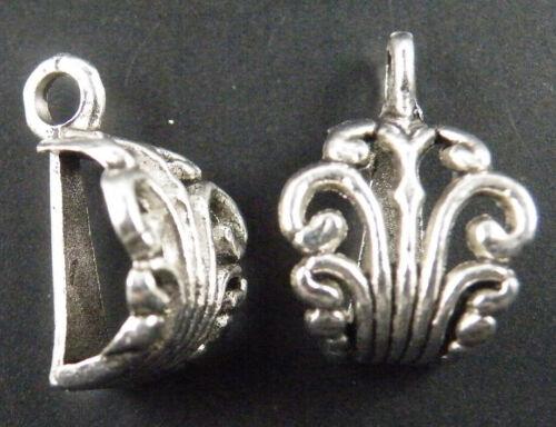 50pcs Tibetan Silver Craft Flower Charms Bails 17x12mm 10521