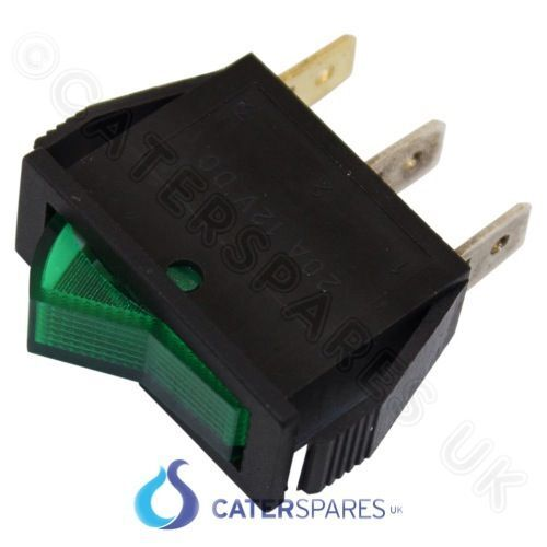 16amp Verde Neon interruptor de encendido//apagado Unipolar 3 Pin 30x11mm 240v Slim