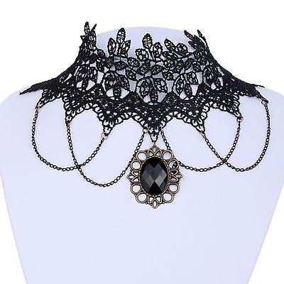Lotita Goth Black Lace Collar Choker Necklace Copper Style Pendant Chain Tassel