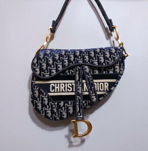 Dior Saddle Blue Oblique Embroidered Velvet