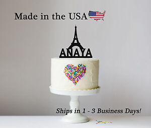 Admirable Paris Eiffel Tower Cake Topper Birthday Decor Personalized Paris Personalised Birthday Cards Akebfashionlily Jamesorg
