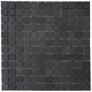 mosaik matte schiefer anthrazit 30x30 cm matt naturstein fliesen schwarz m039 ebay. Black Bedroom Furniture Sets. Home Design Ideas