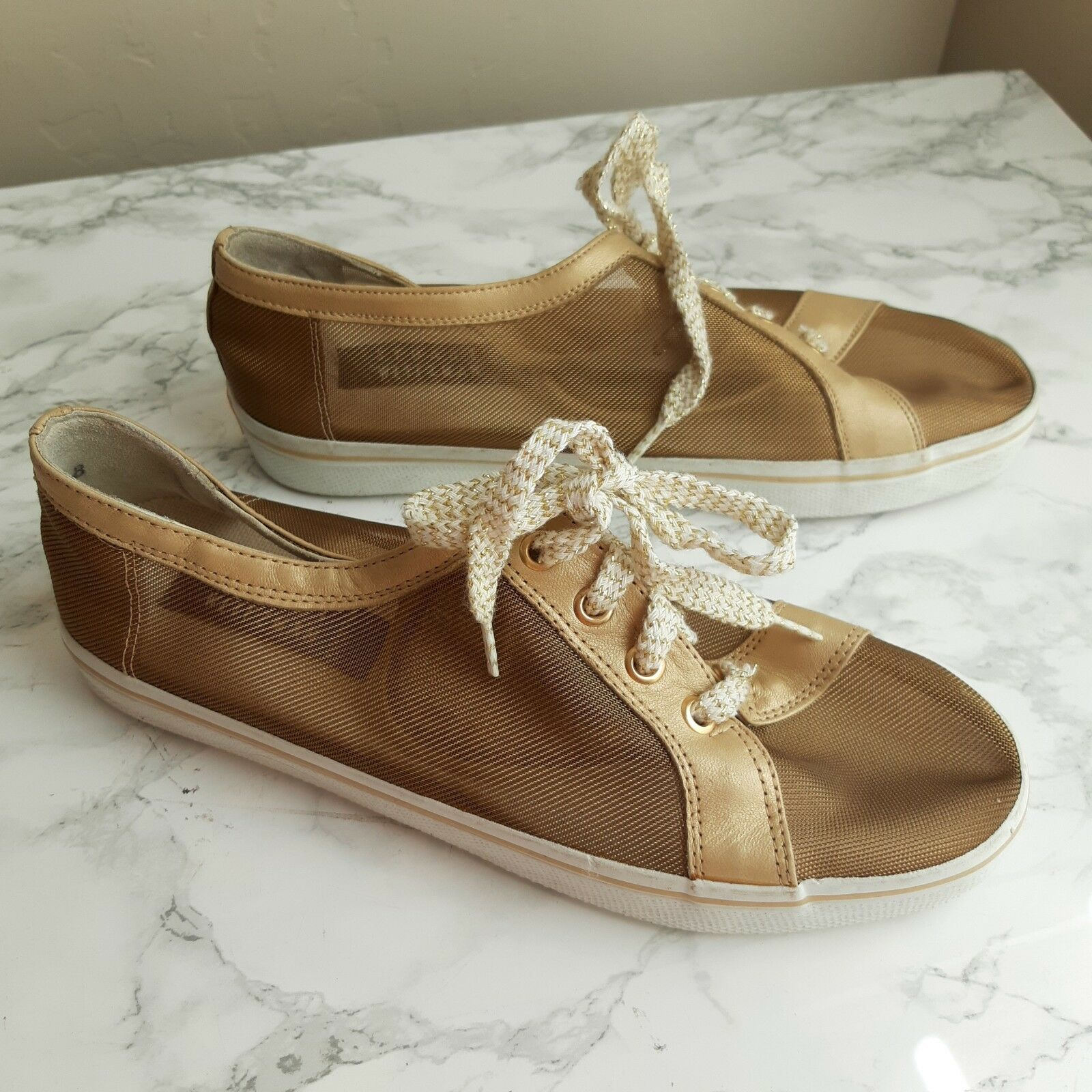 Stuart Weitzman Malla Dorada Low Top zapatillas zapatillas zapatillas Talla 8 Moda Tenis  Todo en alta calidad y bajo precio.