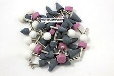50 Assorted Mounted Abrasive Grinding Stones 14 Shank Drill