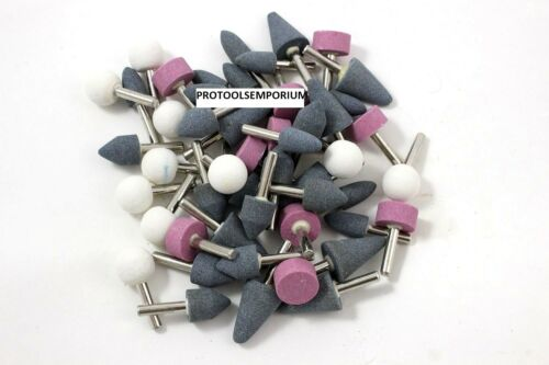 """50 ASSORTED MOUNTED ABRASIVE GRINDING STONES 1//4/"""" SHANK DRILL"""