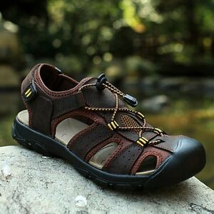 New-Men-Leather-Sandals-Closed-Toe-Fisherman-Beach-Shoes-Summer-Sport-Flats