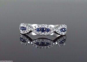 18K-White-Gold-0-51ct-Blue-Round-Sapphire-Diamond-Infinity-Twist-Ring-Band-Sz-6
