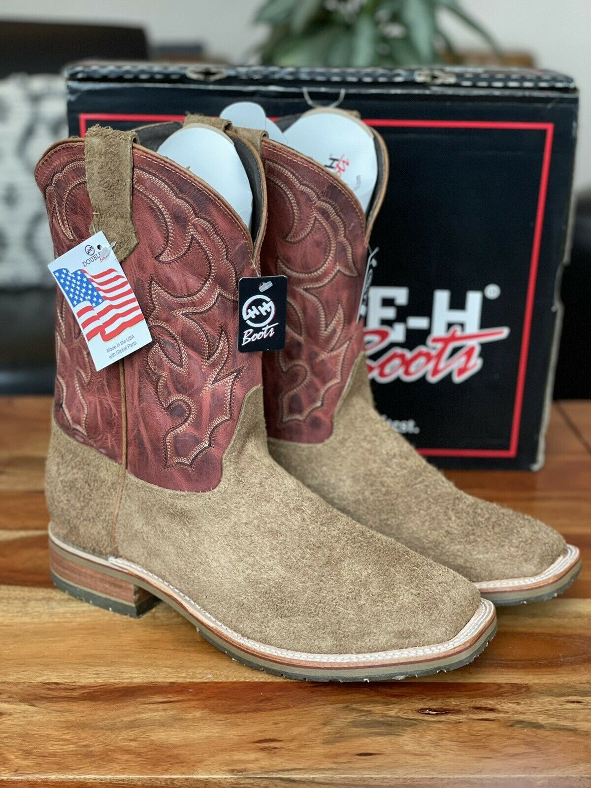 """Double H Men's 11"""" Domestic Square Toe ICE Roper DH4853 Odessa Roughout 13 EE"""