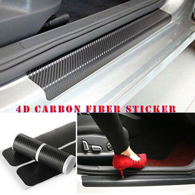 4x 4D Carbon Fiber Look Car Door Sill Scuff Threshold Cover Sticker Anti-Scratch