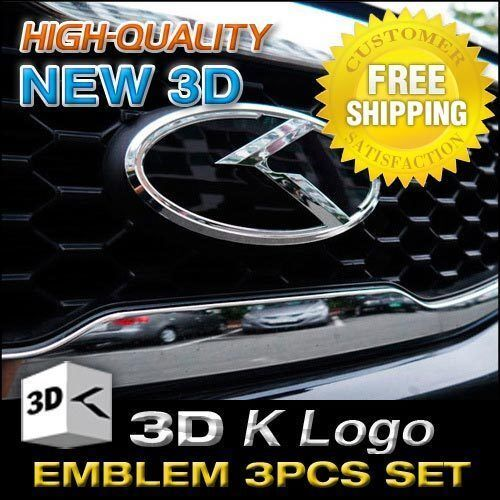 3D K Logo Emblem Set Grill Trunk Steering Wheel For KIA 2015-18 Sedona Carnival