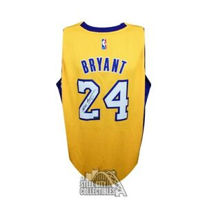 2c64a9f0e7ca Image is loading Kobe-Bryant-Autographed-Los-Angeles-Lakers-Swingman-Gold-
