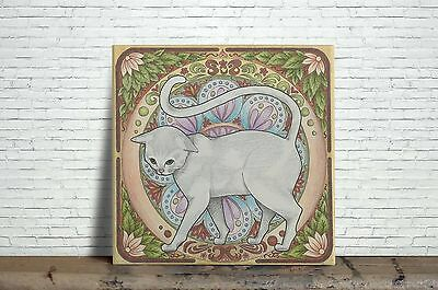 Art Nouveau Cat Image Decorative Wall Ceramic Tile  4.25 or 6  Inches #2