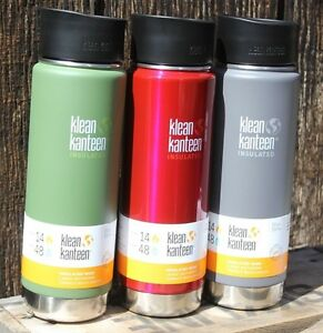 KLEAN-KANTEEN-Flip-cafe-coffee-Insulated-20-oz-WIDE-MOUTH-2-LIDS-water-bottle