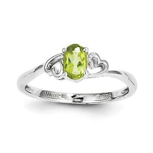 Ladies-925-Sterling-Silver-August-Birthstone-Peridot-Heart-Ring-Size-5-10