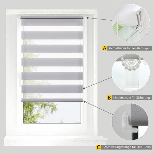 Doppelrollo klemmfix ohne Bohren Duo Rollo Kettenzug mit Klemmträger Fenster Tür