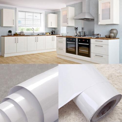 Gloss Pure White Kitchen Cupboard Door Cover Sticker Self Adhesive PVC Wallpaper