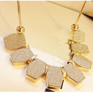 Charm Chain Pendant Crystal Choker Chunky Statement Bib Jewelry Necklace Women