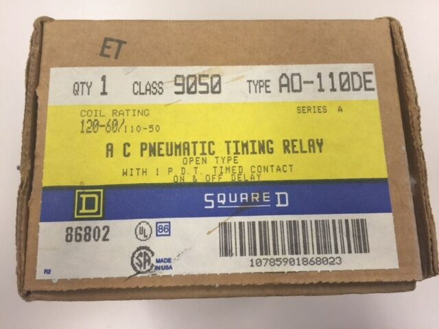 9050AO110DEV02 - NEW Square D Pneumatic Timing Relay Open type 120 volt coil