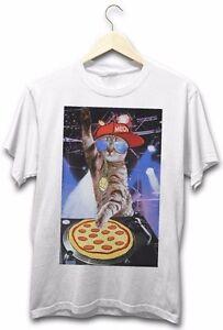 Pizza-Cat-DJ-Music-Funny-Kitty-Hip-Hop-Music-New-Mens-Festival-Hip-White-T-Shirt