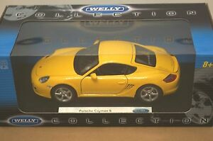 Rare-Welly-PORSCHE-Cayman-S-Yellow-Opening-Parts-Model-1-18-Mint-in-Box-Stunner