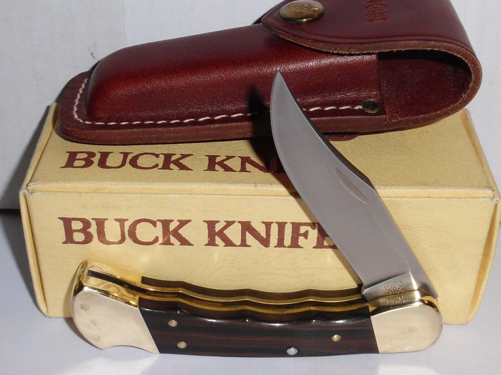 VINTAGE BUCK USA 110 FINGER GROOVED FOLDING HUNTER KNIFE w/BOX & SHEATH. 1980's