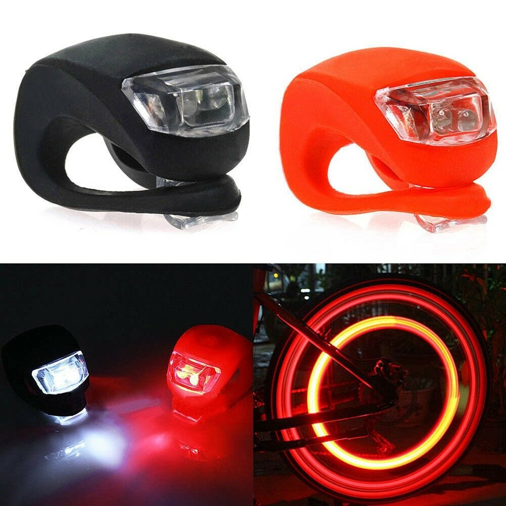 2018 Silicone Bike Bicycle Cycling Head Front Rear Wheel LED Flash Light Lamp CA