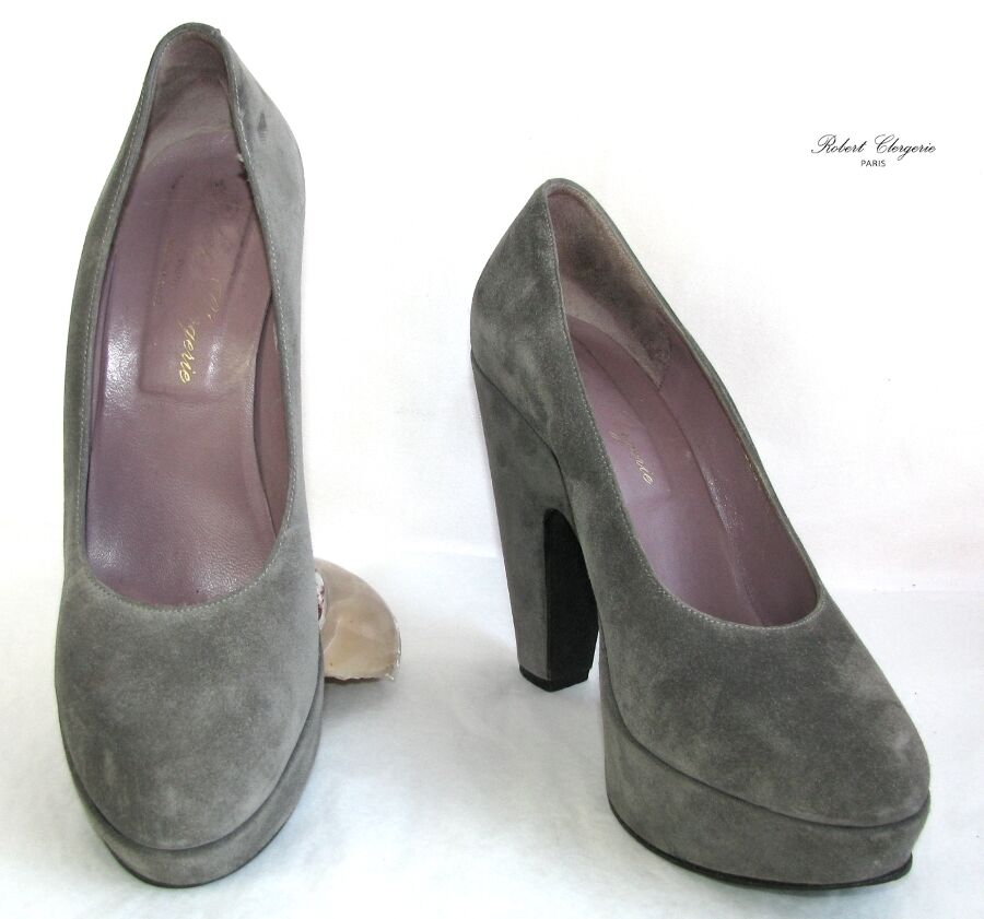 ROBERT CLERGERIE Court shoes heels 12.5 cm plateau leather grey 6.5 37.5