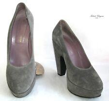 ROBERT CLERGERIE - Escarpins talons 12.5 cm plateau cuir velours gris 6.5 37.5