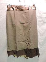 Womens Ashro Gold & Bronze Faux Leather Trim Full Skirt Plus Size 24w 24 W