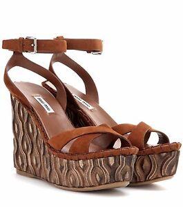Eu Miu Platform Brown 40 Us Zpxiku Suede Wedge Uk Sandals Bnwt Shoes 7 dxrCeBo