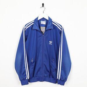 Vintage-80s-Adidas-Petit-Logo-Veste-de-Survetement-Bleu-TAILLE-XS