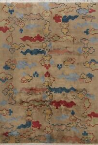 Vintage-Abstract-Art-Deco-Chinese-Geometric-Oriental-Area-Rug-Hand-Knotted-8x10