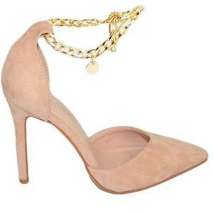Decollete' donna a punta con catena alla caviglia Mary Jane tacco spillo 12 camo