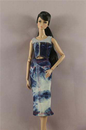 Fashion Denim Top Vest+Denim dress Skirt clothes For 11.5in.12 inch Doll