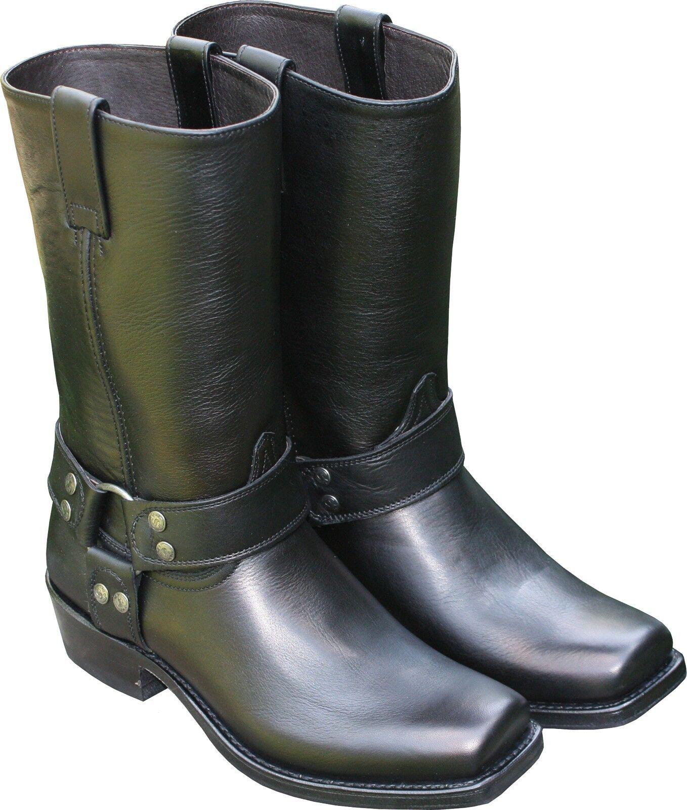 Sendra Stivali PELLE NERA BIKER-Stivali Cowboy Country Western Stivali Moto