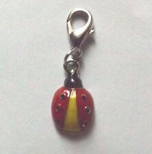 charms argentée coccinelle rouge, jaune et noir 17x10 mm