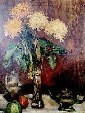 Hübsches Ölgemälde Blumen Stillleben signiert Heinrich Bühler 1919