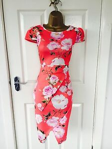 Coral-Rose-Floral-Evening-Peplum-Midi-Pencil-Bodycon-Stretch-Summer-Party-Dress