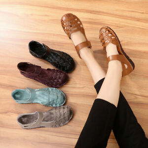 Womens-Genuine-Cowhide-Sandals-Beach-Shoes-Closed-toe-Vintage-Hole-Shoes-Leather