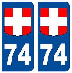 74 HAUTE-SAVOIE DEPARTEMENT IMMATRICULATIO<wbr/>N 2 X AUTOCOLLANTS / STICKER - AUTO