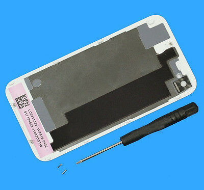 For iPhone 4S Battery Cover Back Case Replacement Rear Glass Complete White+Tool