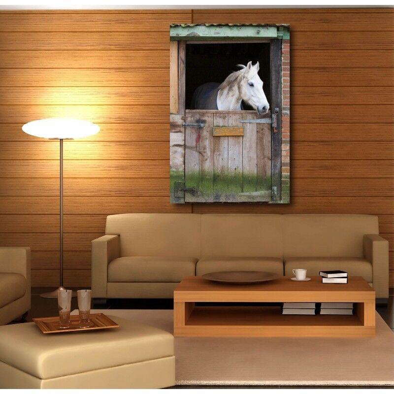 Cuadro tela decoración rectangular greenical caballo en su box 6505915