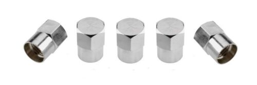 5 X CHROME ALUMINIUM HEX TYRE VALVE DUST CAPS ALLOY WHEELS FITS SUBARU